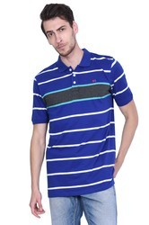 Royal Blue Cotton/Linen Polo Stripped Silicon Washed Branded T Shirt