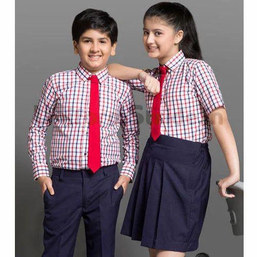 d574f761d Cotton Girls And Boys Checked School Uniform