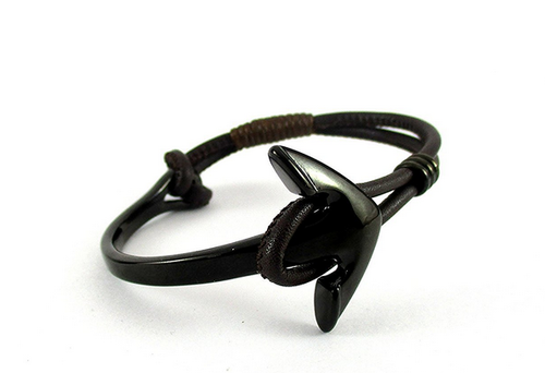 2559e490ac4a8 Plated Anchor Black Leather Cuff Bracelet For Men