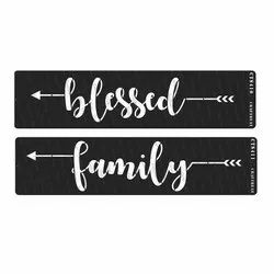 White CrafTreat Stencil - Blessed & Family Word 3X12