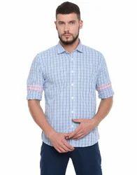 United Club Mens Casual Wear Blue Checkered Cotton Shirt
