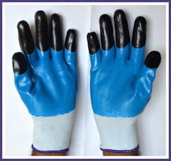 White Nylon Shell With Orange Blue Three Fourth Dipped Hand Gloves