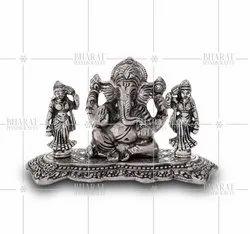 Silver Plated Ridhi Sidhi Ganesh Murti