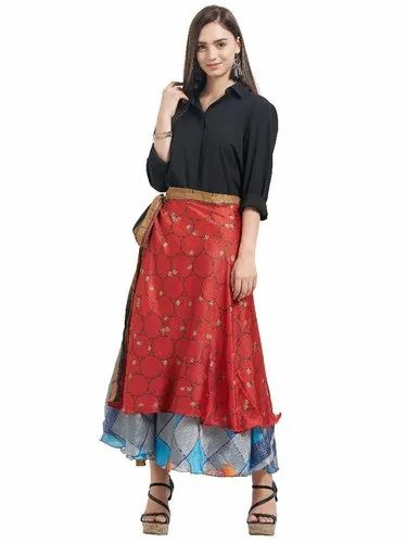 cb6ff03458 Silk Beach Wear Printed Wrap Skirt, Size: 22, Rs 400 /piece | ID ...