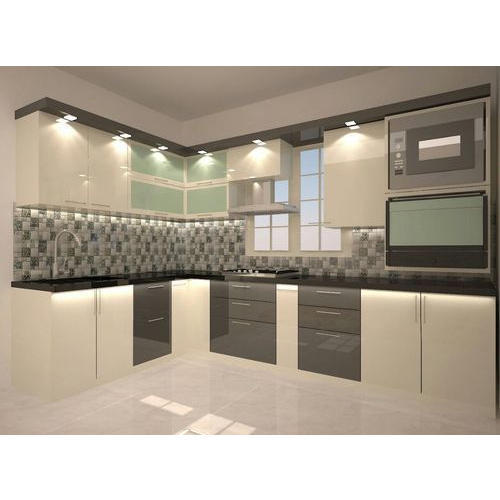 Indian Kitchens Modular Kitchens: Indian L Shaped Modular Kitchens At Rs 1500 /square Feet