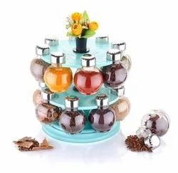 360 Degree Revolving Round Shape Transparent Spice Rack For Kitchen Storage Container Rack Sets S
