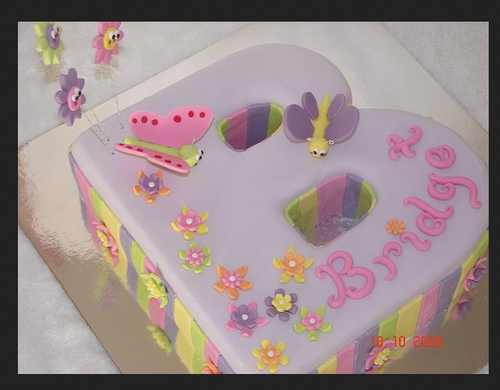 light purple celebrate birthday with 1st letter b cake