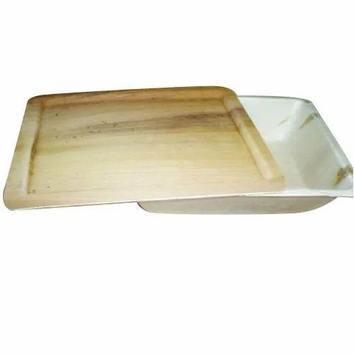 Plain Disposable Areca Leaf Tray, Shape: Rectangular, Packaging Type: Packet