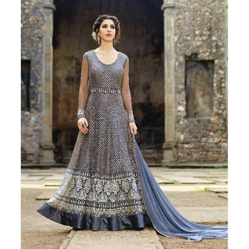 f75468cd029 Party Wear Grey Net Embroidery Semi Stitched Anarkali Suit