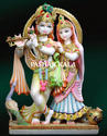 White Painted Radha Krishna Marble Statues, For Worship