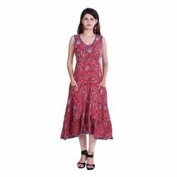Women's Floral Printed Cotton Gown Dress