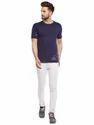 100% Cotton Men Short Sleeve Solid Dark Blue Round Neck T-Shirt