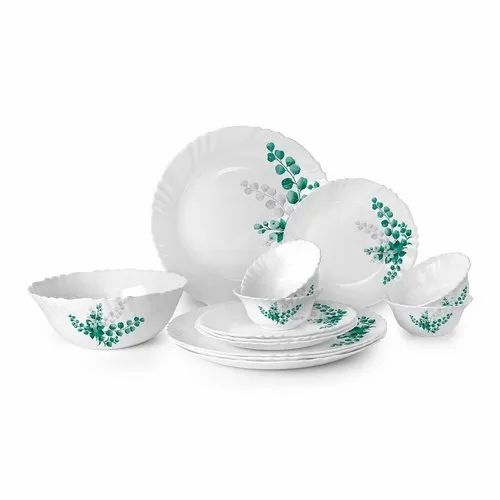 Cello Imperial Aqua Leaves Opalware Dinner Set, 33 Pcs, White