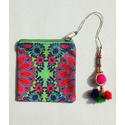 Blooming Flower Motif Canvas Coin Purse