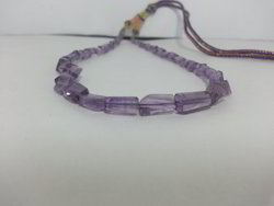 Natural Amethyst Faceted Nuggets Tumble Beads Necklace