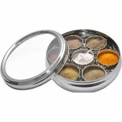 Container Plain Stainless Steel Masala Dani, Shape: Round