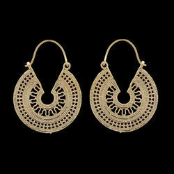 Large Mandala Hoop Earrings in Brass