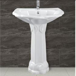 Ceramic White Wash Basin Pedestal, Shape: Rectangular