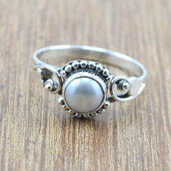 925 STERLING SILVER JEWELRY PEARL GEMSTONE WHOLESALE RING WR-5045
