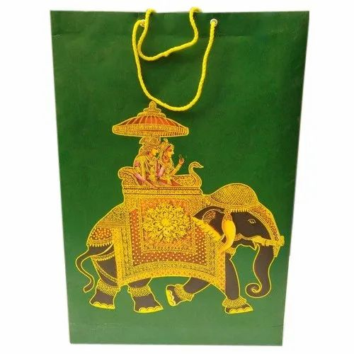 Green Handled Shopping Paper Carry Bag