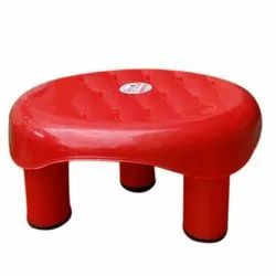 Red Plastic Bathroom Stool
