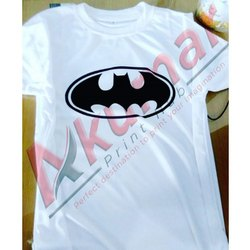 Half Sleeves White Superhero Printed T Shirt