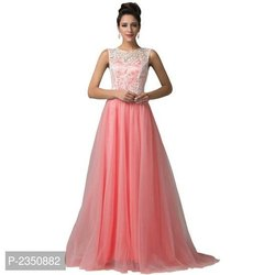Pink Party Wear Long Floor Length Gown