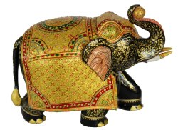 Wooden Painting Elephant Statues