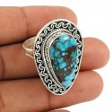 Coral Turquoise Gemstone Silver Ring Jewelry