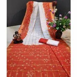 Party Wear Ladies Fancy Bandhani Cotton Saree, Machine wash, Packaging Type: Packet