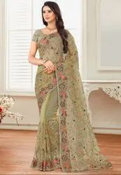 Dusty Cream Embroidered Net Saree