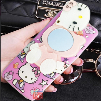 336ecb9dd8 KC Mirror Kitten Girl with Diamonds Studs Back Cover for Apple iPhone 7 -  Pink