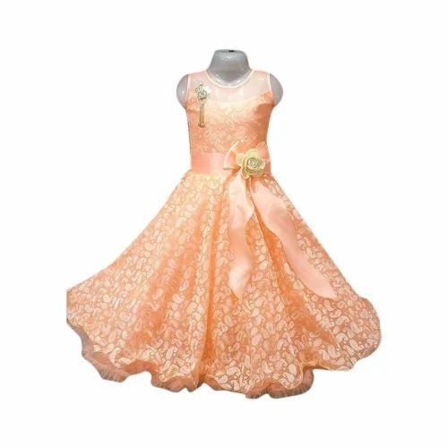 7458cb3893 Net, Satin Party Wear Kids Girl Designer Gown, Rs 700 /piece | ID ...