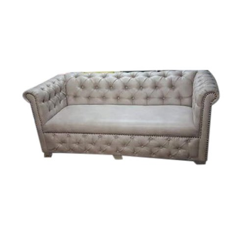 Wooden Leather Modern White Three Seater Sofa