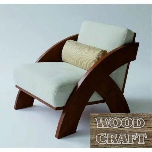 Wood Craft Modern Single Seater Sofa, Wood Craft Furniture