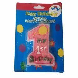 Happy Birthday Spiral Party Candle