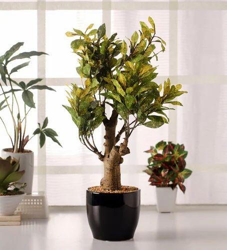 Artificial Croton Plant In A Ceramic Vase Artificial Potted Plants