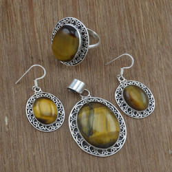 925 Silver Unique Jewelry Tiger Eye Gemstone Set