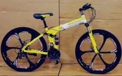 BMW Yellow Six Spoke Foldable Cycle