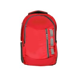 Red PU Plain College Backpack