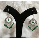 Oxidized German Silver with Green Jhumka