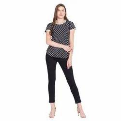 Ladies Crepe Black Check Casual Top, Size: S - XXL