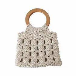 Designer Macrame Ladies Handbags Macrame Bag with Wooden Handles Boho Handbag