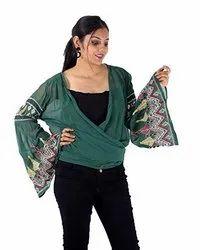 Georgette Women Green Knitted Sleeve Shrug Top