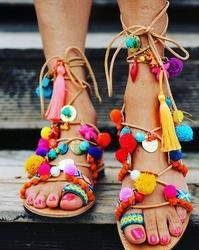 Multi Colour Leather Gypsy Pompom Sandals