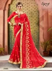 Stylish Fancy Red Party Wear Sarees