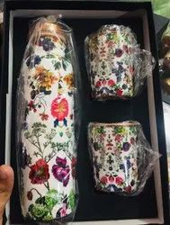Digital Flower  Meena  Print Copper Bottle Set