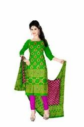 Parrot Green And Rani Color Fancy Design Gadhwal Bandhani Dress Material