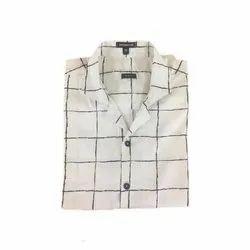 Uppercase White Mens Cotton Check Shirt, Handwash