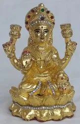 Gold Laxmi Statue With Kaman